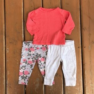 Carter's Leggings and Long Sleeve Tee - 9 months